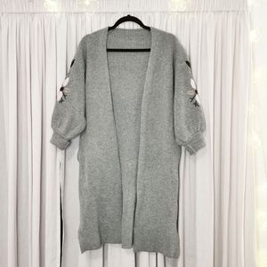 Embroidered Grey Cardigan